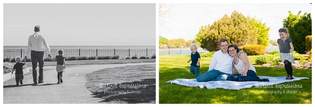 Grosse Pointe family photo session outdoors in the spring with two kids